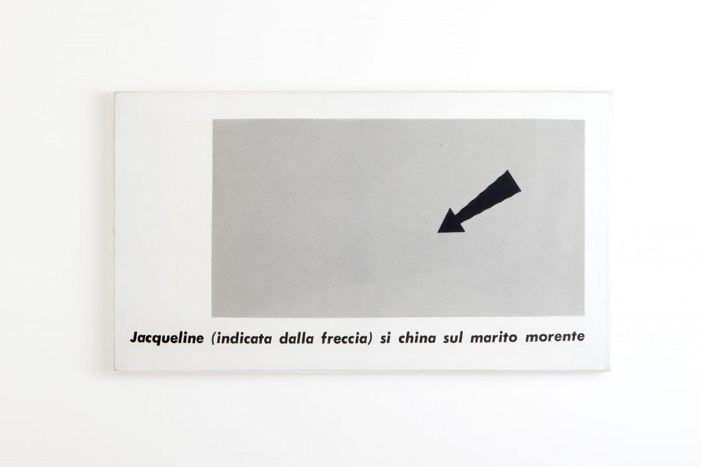 Emilio Isgrò, Jacqueline, 1965. Courtesy Archivio Emilio Isgrò, Milano. In comodato a Madre · museo d'arte contemporanea Donnaregina, Napoli. Foto © Amedeo Benestante.