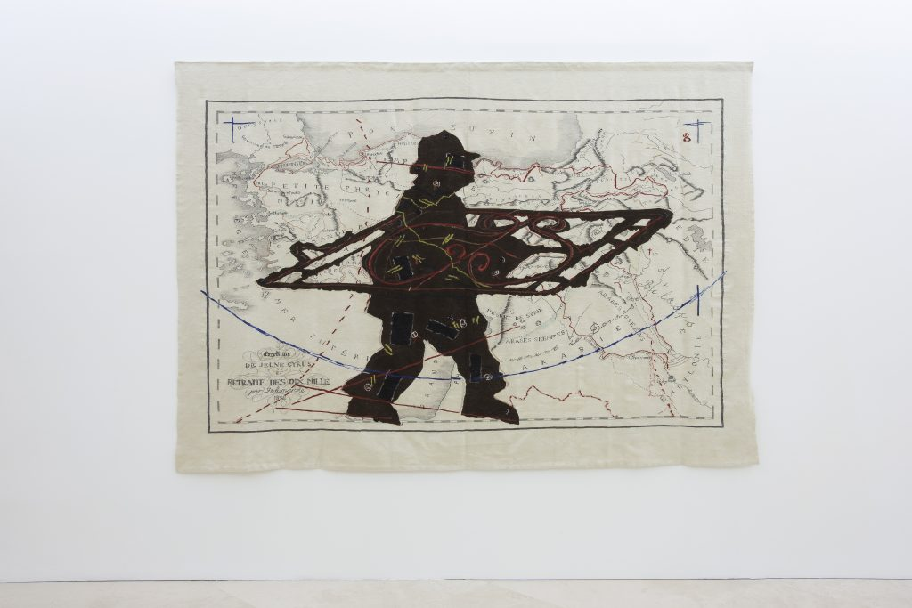 William Kentridge, Porter Series: Expedition de Jeune Cyrus et retraite des dix mille (with Wrought Iron) / La serie dei portatori : la spedizione di Jeune Cyrus e la ritirata dei mille (con ferro battuto), 2006-2007. Collezione privata. Courtesy Galleria Lia Rumma, Milano-Napoli. In comodato a Madre · museo d'arte contemporanea Donnaregina, Napoli. Foto © Amedeo Benestante.