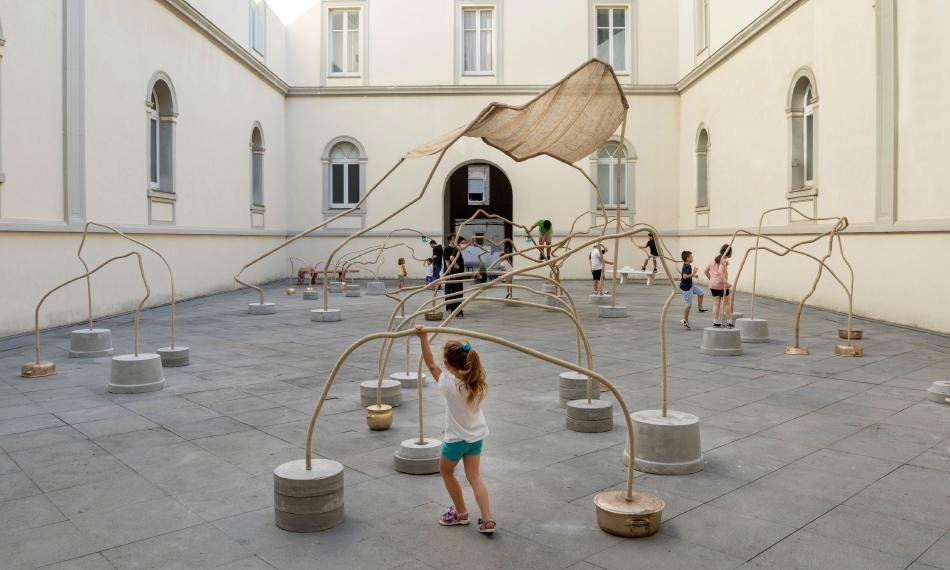 "Temitayo Ogunbiyi, ""you will play in the everyday, running"", 2020, Museo d'Arte Contemporanea Donnaregina, Naples, Italy. Photo by Amedeo Benestante."